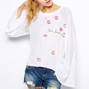 Wildfox love junkie bell sleeve blouse